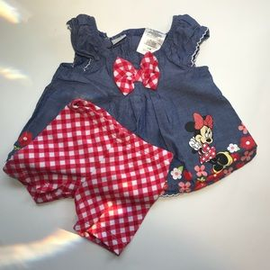 0-3 months Minnie mouse baby girl two piece outfit